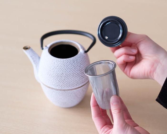 Rojiカラーティーポット筒形刷毛目の茶こし