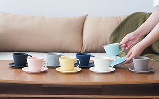 Select your favorite color from colorful sets of cup & saucer