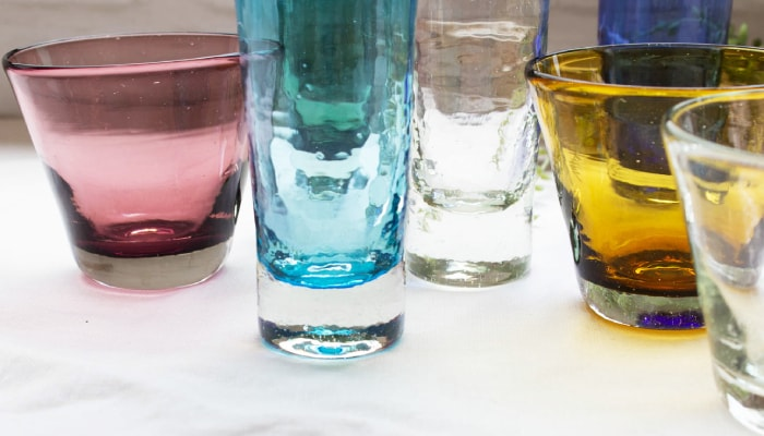 Glassware of Glass Studio Seiten has cute thickness like marbles