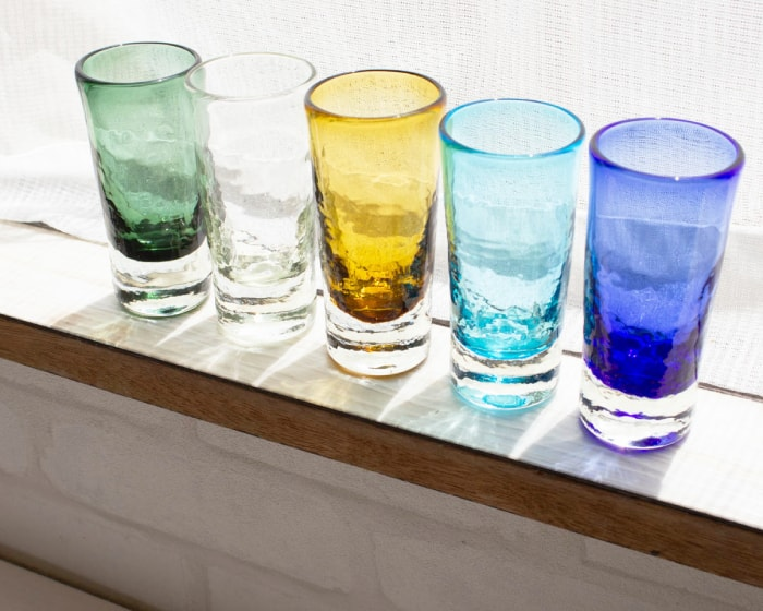 5 colors small beer glasses of Glass Studio Seiten