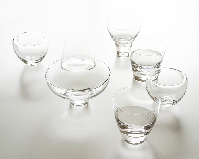 Clear glasses of Sugahara on the table