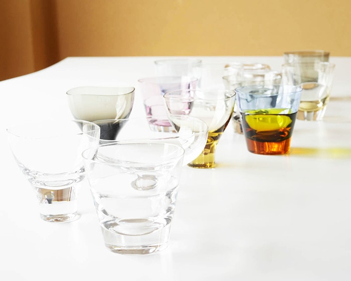 Various glasses of Sugahara from their sides