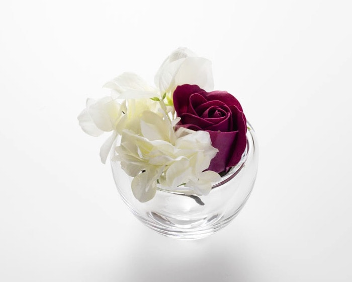 Arrange flowers in double walled glass air lip from Sghr