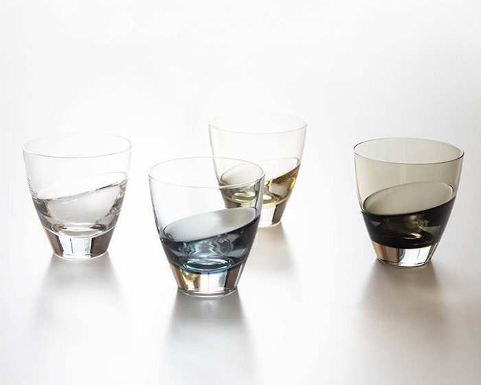 4 colors of cascade glasses from Sugahara on the table