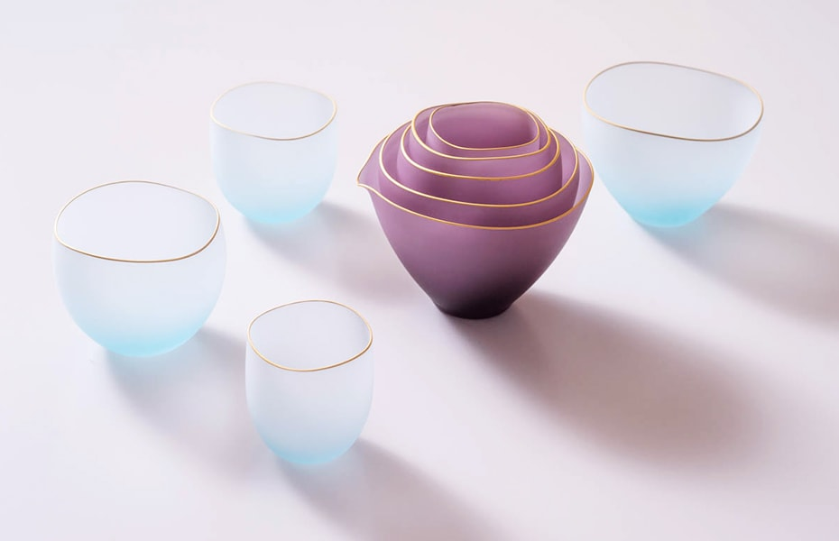 Sghr スガハラのsaki(サキ)ガラスの酒器・小鉢