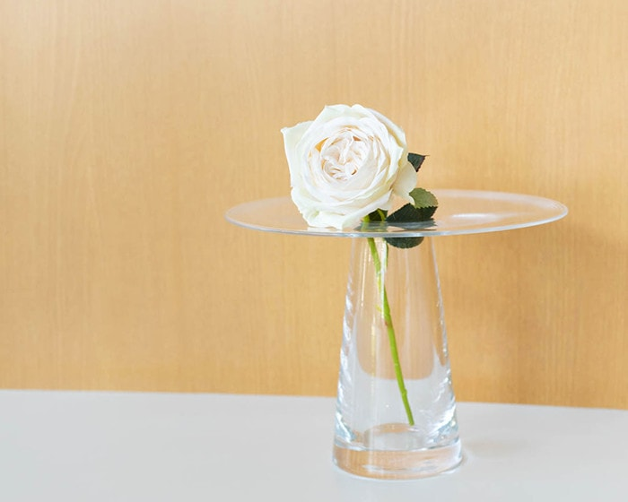 A rose in glass vase Calma from Sugahara