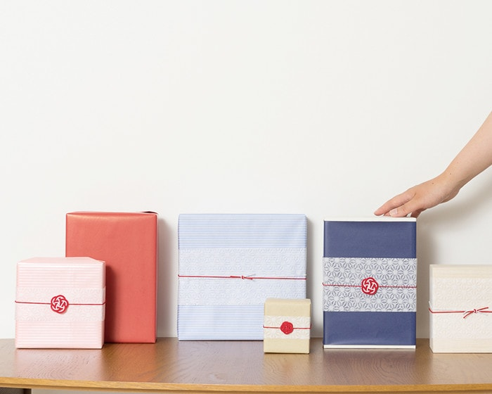 Images of gift wrapping in Japan Design Store