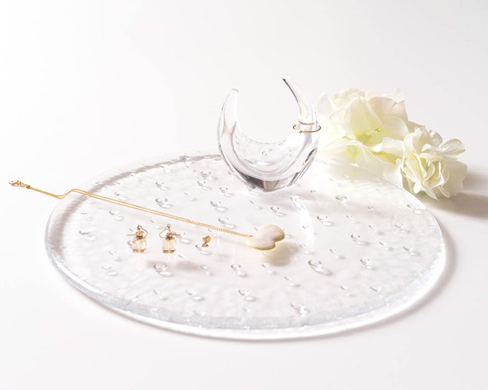 Glass plate droplet and glass ring holder from Sugahara