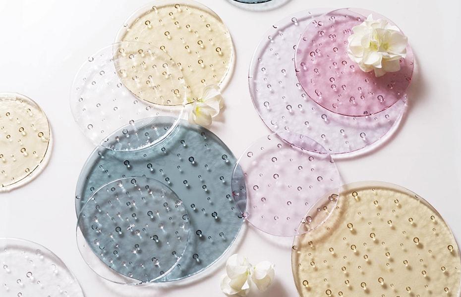 水玉キラキラ 大人可愛いガラス皿ドロップレット