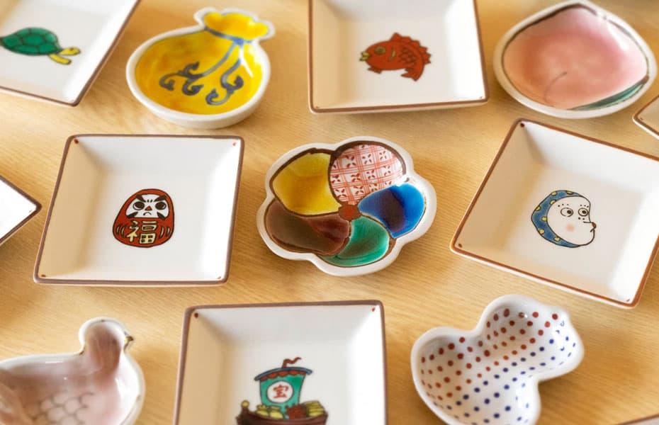 双鳩窯のかわいい九谷焼豆皿 おしゃれな食器セット