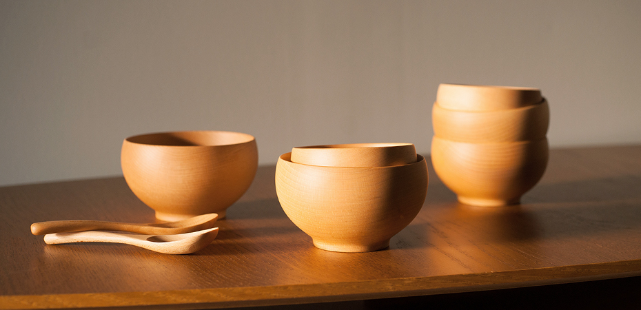 Wooden soup bowls Meibokuwan from Sonobe