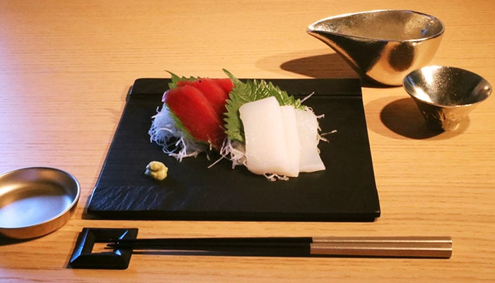 special Japanese dinner with slate plate