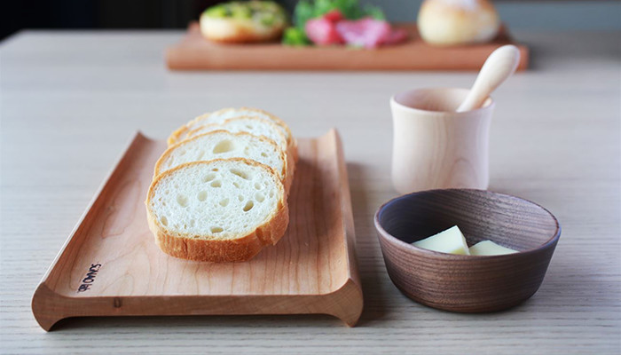 Wooden bread board and mushroom bowl