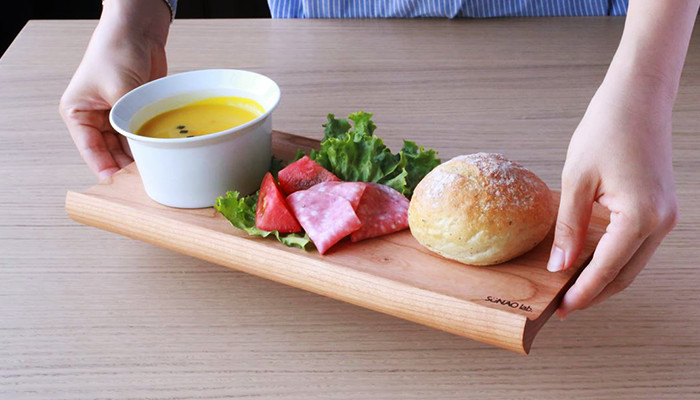 One plate lunch with wooden bread board SENRO