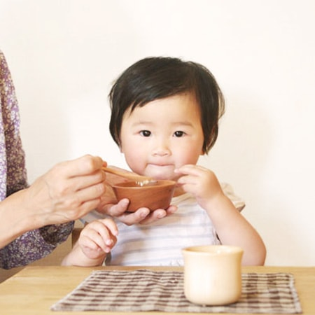 babies can use wooden mushroom bowl and spoon safely