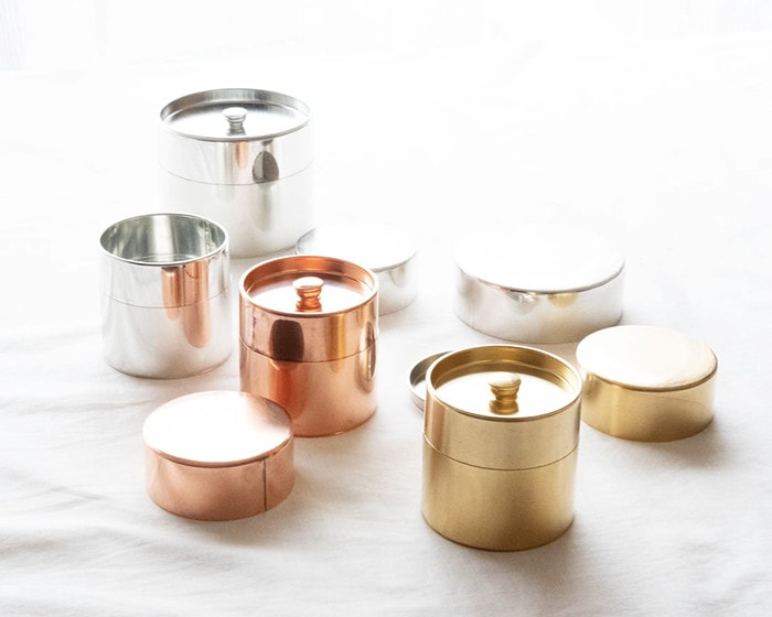 Brass, Copper and Tin tea caddies from SyuRo
