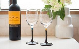 Lacquer colored wine glasses like jewels