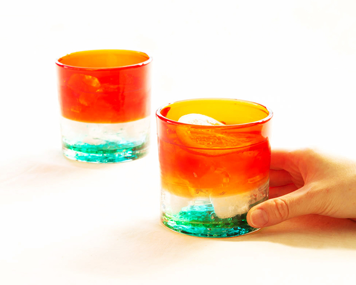 2 Sunset in Zanpa glasses from Ryukyu Glass Works Umikaze