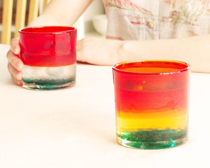 Wonderful sake time with Sunset in Zanpa glass