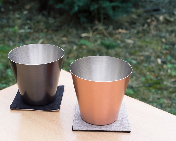 Mat and Brown copper drinking cups