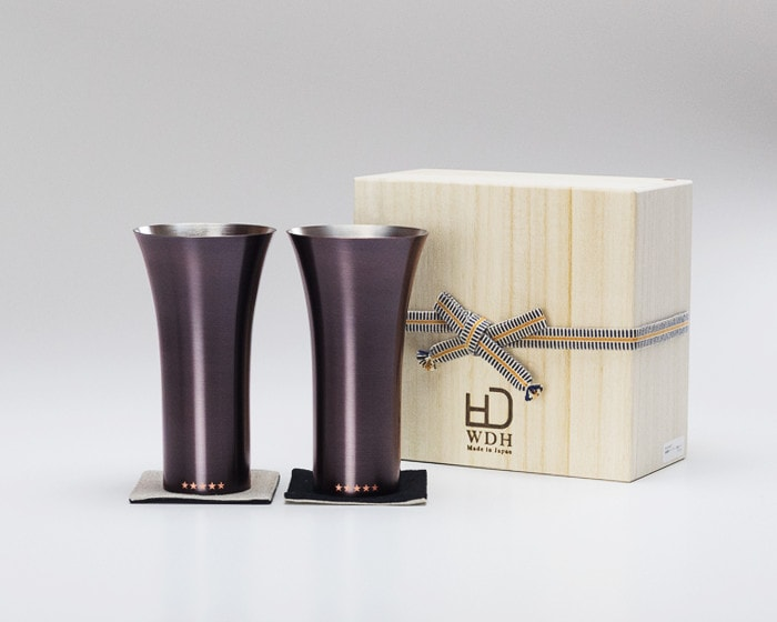 Pair of Brown copper tumblers and its paulownia box