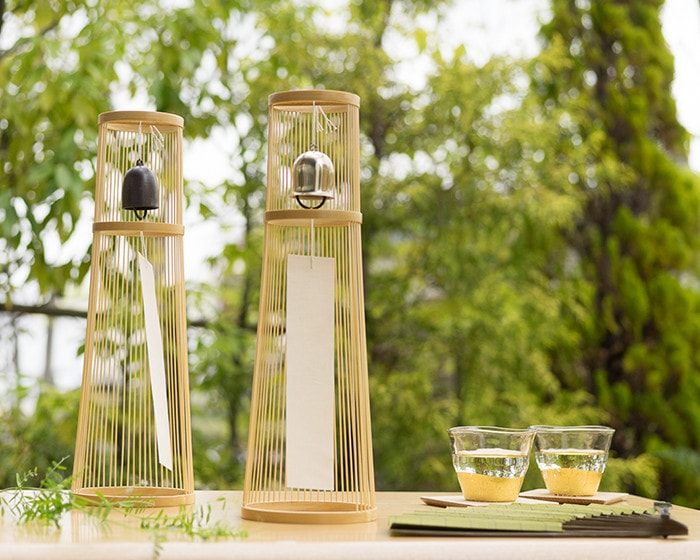 Cool tea time in a garden with tabletop wind chimes from WDH