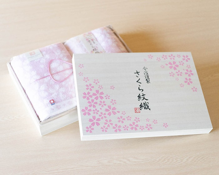 Wooden box of Sakura Mon-Ori towel