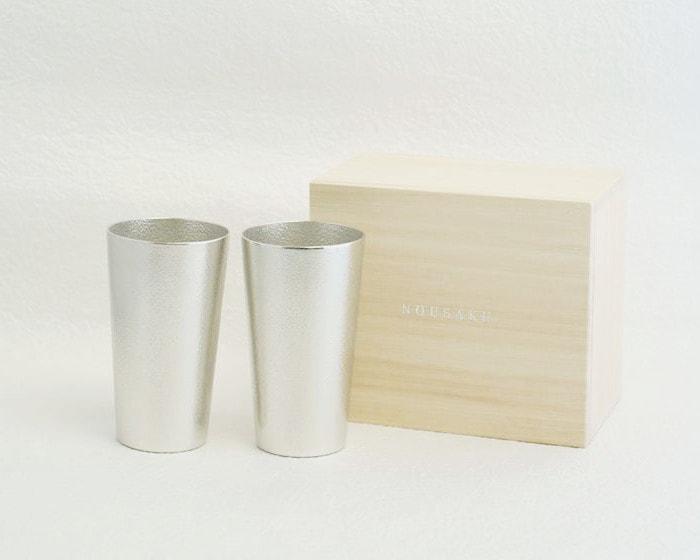 能作ビアカップペアと専用の桐箱