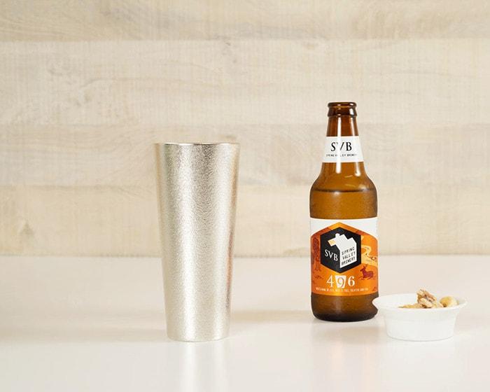 能作錫のビアカップLとクラフトビール瓶