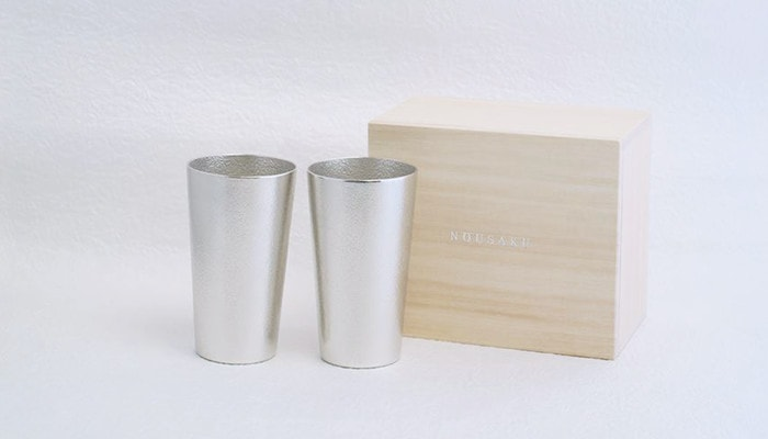 Beer cup from Nousaku with its paulownia box