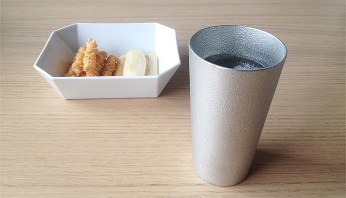 Beer cup from Nousaku and Square Bowl with snacks