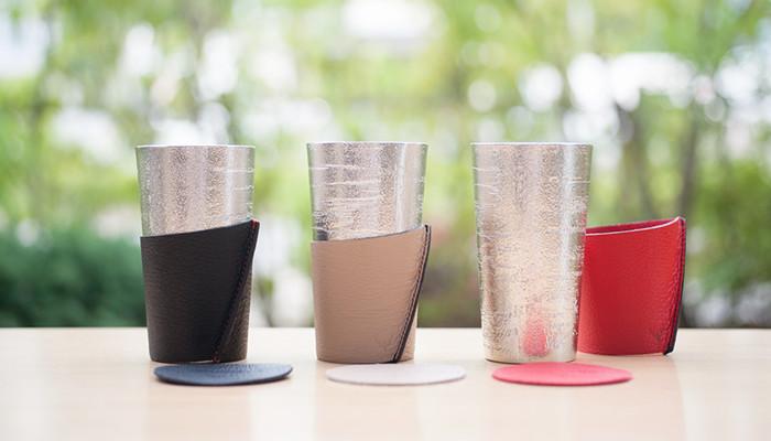 能作のビアカップ‐シラカバセットが3つ並んでいる