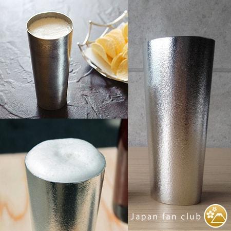 能作の錫のビアカップ3カット