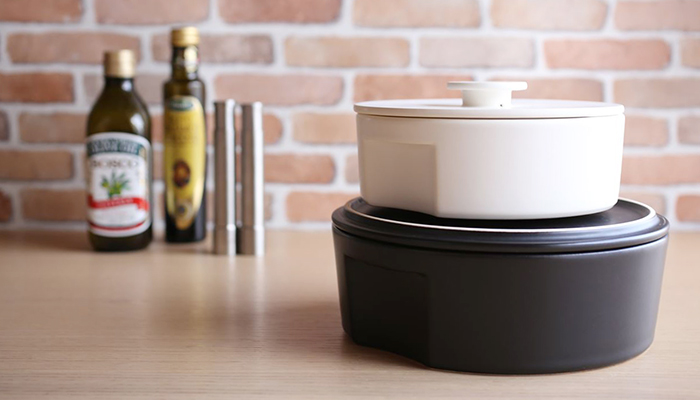 Stylish donabe pot do-nabe on kitchen countertop