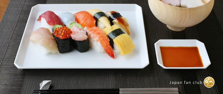 modern sushi dinner with Square plate
