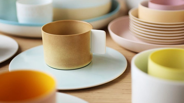 colorful coffee cups and saucers of S&B Colour Porcelain