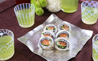 Casual chic sushi party with Taisho Roman Glass