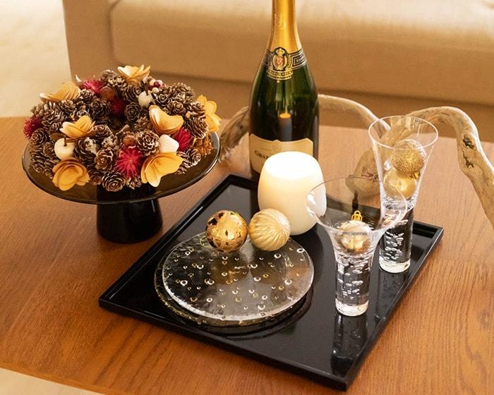 スガハラの食器や花器を使用したクリスマスコーディネート