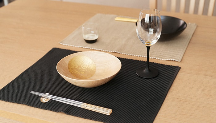 Gold tableware on the table
