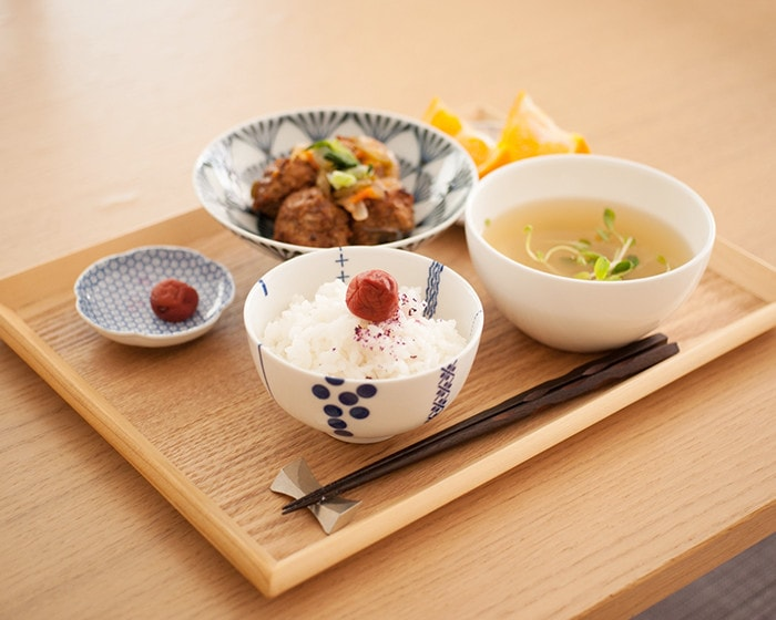 Dinner with various Hasami porcelain tableware