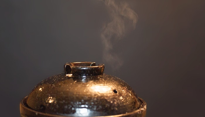 Steam comes from a hall of outer lid