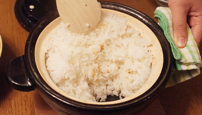 Scorched rice comes from the bottom of donabe