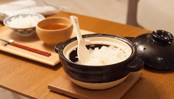 White rice cooked by Kamado-san on the dinner table