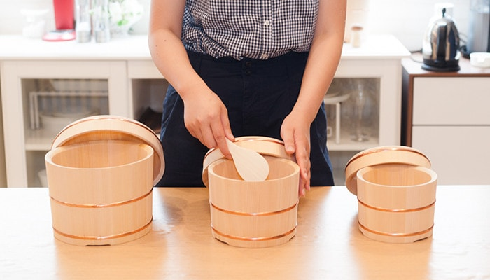 3 sizes of wooden rice buckets of Azmaya
