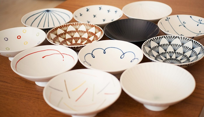 Colorful rice bowls from Hakusan Toki