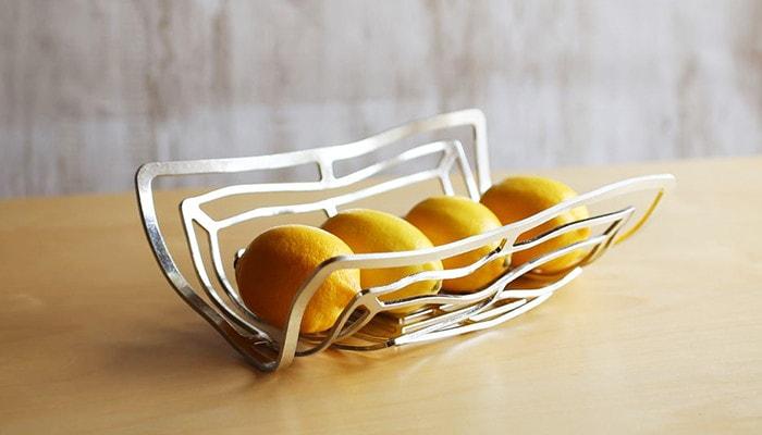 4 lemons in metal fruit bowl KAGO from Nousaku