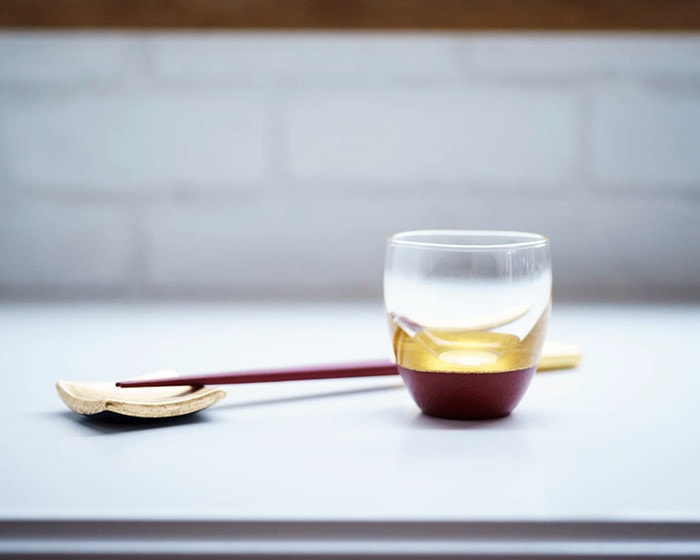 Lacquer sake cup form Toba Shitsugei and Chopsticks set from Hakuichi