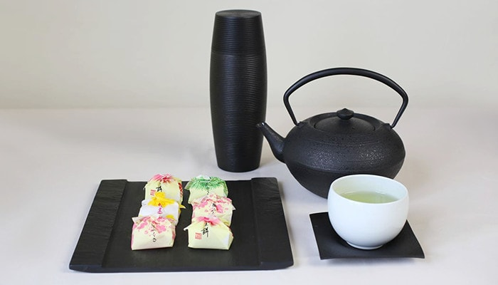 Japanese tea time set with slate board SUZURI, teacup and teapot