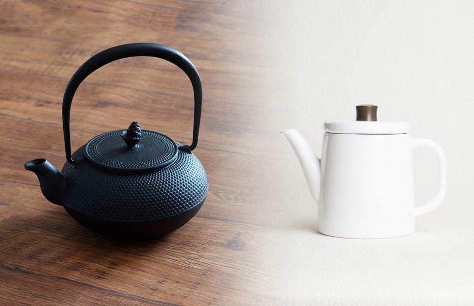 Cast iron kettles and enamel tea kettles