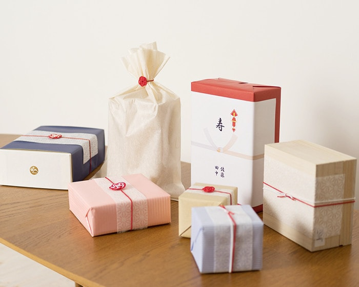Examples of gift wrapping from Japan Design Store